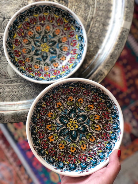 "TURKISH CERAMIC BOWL SET OF TWO , 15 cm (5.9""), FLORAL 005813"