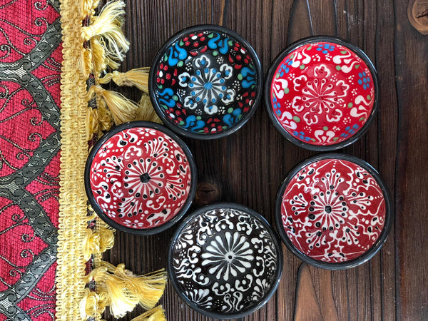 "TURKISH CERAMIC BOWL SET OF FIVE, 5 cm (1.9""), FLORALS 003"