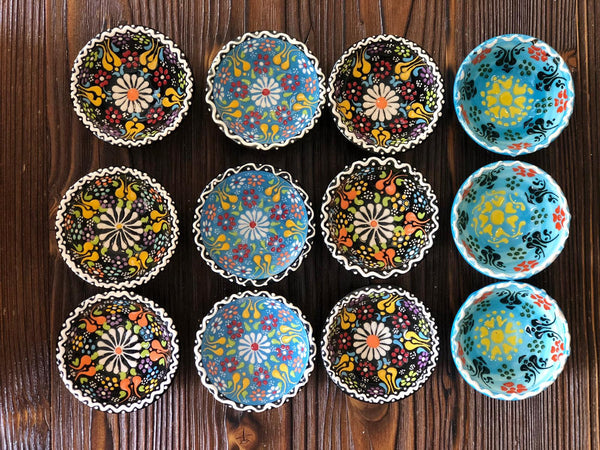 12x TURKISH CERAMIC BOWL SET OF TWELVE, 5 cm, MEZE BOWLS, FLORAL
