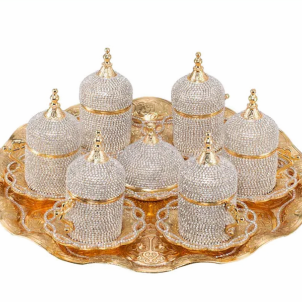 TURKISH COFFEE SET, CRYSTAL COATED, GOLD