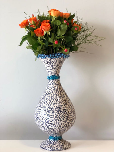 TURKISH CERAMIC VASE, WHITE AND BLUE, 30 cm