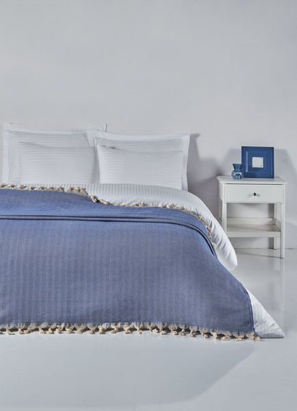 PESHTEMAL BED COVER, 0019, BLUE