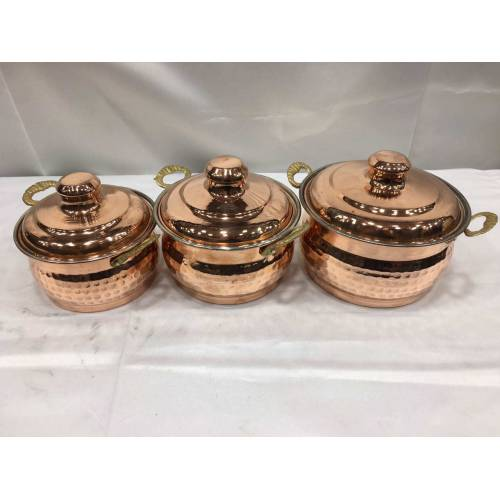 TURKISH COPPER PAN SET OF THREE, HAND HAMMERED