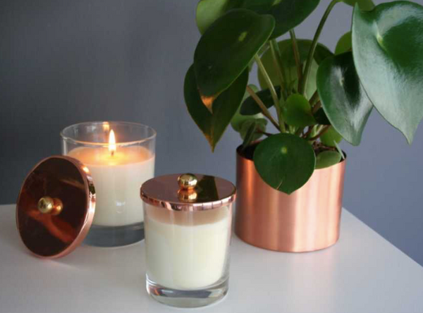 COPPER CANDLE HOLDER SET OF TWO