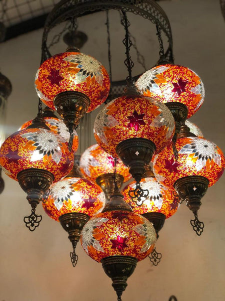 MOSAIC CHANDELIER, 11 LAMPS