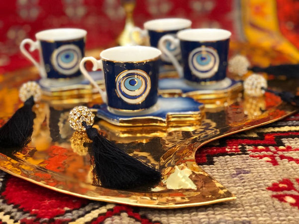 4x EVIL EYE PORCELAIN TURKISH COFFEE SET FOR FOUR