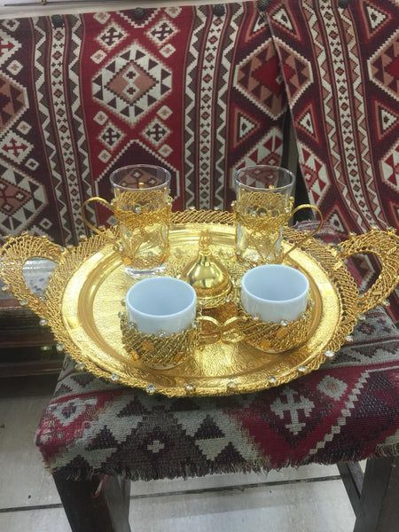 FILIGREE TURKISH COFFEE SERVING SET FOR ONE