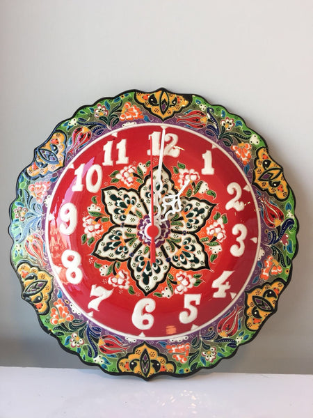 TURKISH CERAMIC WALL CLOCK, RED