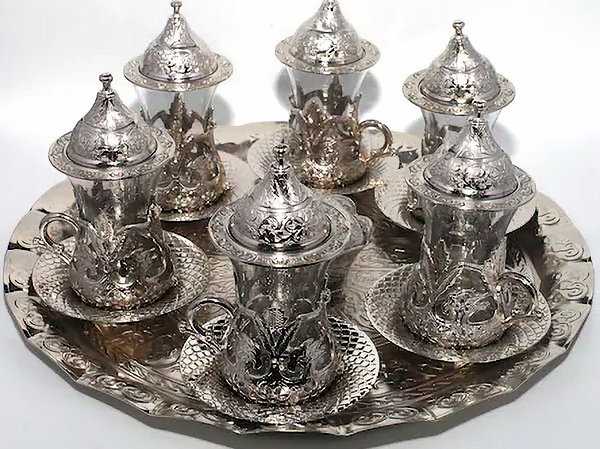 TURKISH TEA SET FOR SIX, SILVER COLOR