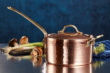 PREMIUM TURKISH COPPER SAUCE PAN WITH HANDLE, HAND HAMMERED