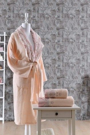 HANDMADE LUXURY TURKISH BATHROBE AND TOWEL SET, 100% COTTON