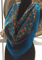 THIN UNIQUE FLORAL SCARF, BLUE 76