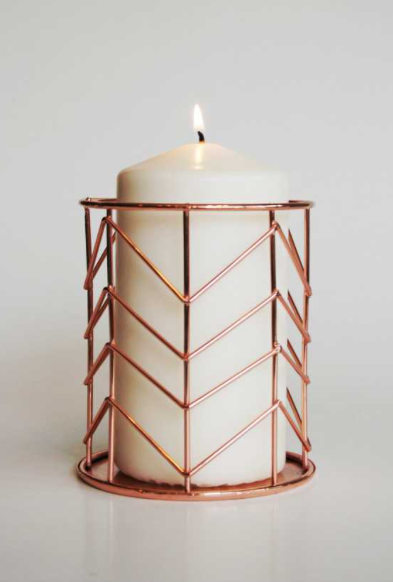 PIPE & WIRE COPPER CANDLE HOLDER