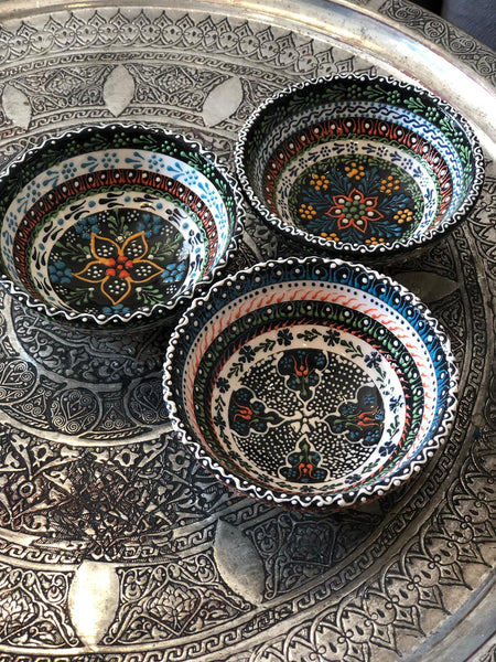 "3x TURKISH CERAMIC BOWL SET OF THREE, 10 cm (3.9""), 00325"