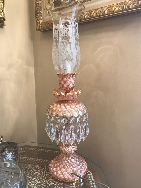 HANDMADE CRYSTAL TABLE LAMP, EXCLUSIVE PALACE STYLE, PINK