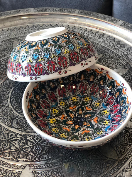 "TURKISH CERAMIC BOWL SET OF TWO , 15 cm (5.9""), FLORAL 005815"