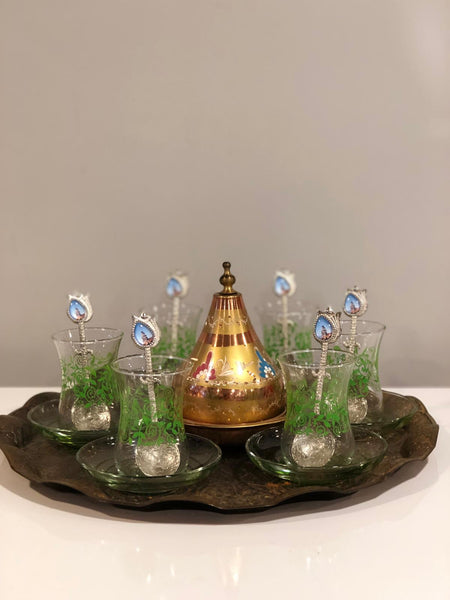 LUXURIOUS TURKISH TEA SET FOR SIX, 002