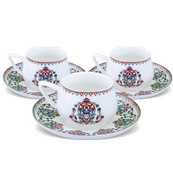 PORCELAIN TURKISH COFFEE SET OF SIX, IZNIK
