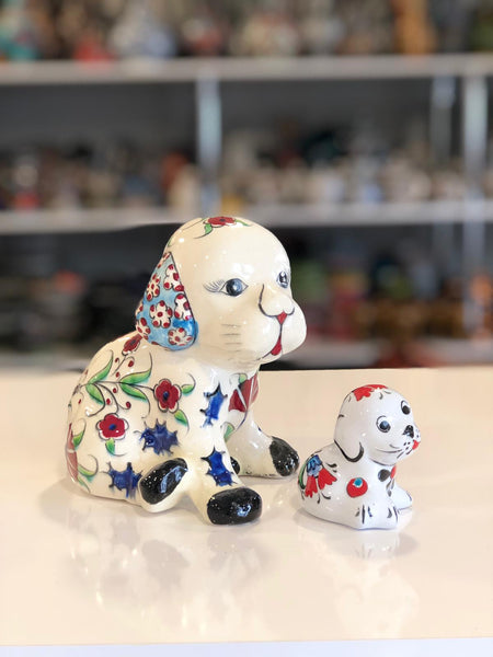 2x TURKISH CERAMIC PUPPY / DOG SET