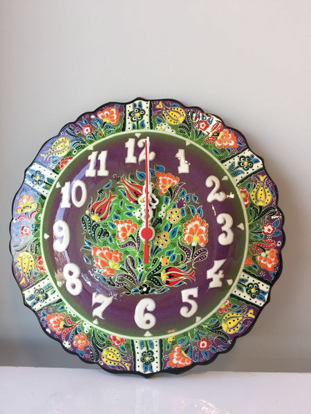 TURKISH CERAMIC WALL CLOCK, PURPLE