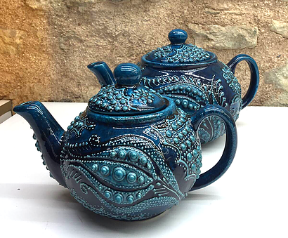 TURKISH CERAMIC TEA POT, FIRUZE STYLE