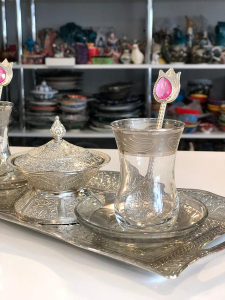 TURKISH TEA SET FOR TWO, SILVER COLOR