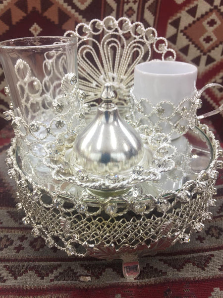 FILIGREE TURKISH COFFEE SERVING SET FOR ONE, SILVER