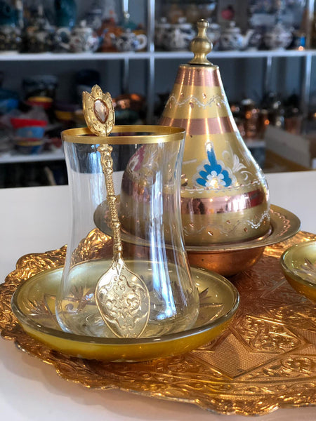 TURKISH TEA SET FOR TWO, GOLD 002