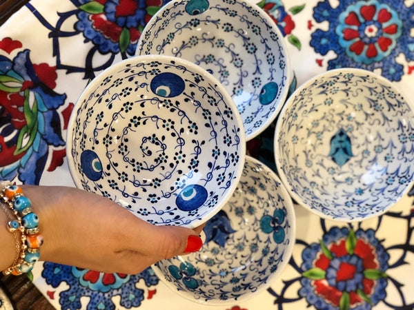 "TURKISH CERAMIC BOWL SET OF FOUR, 10 cm (3.9""), 00326"