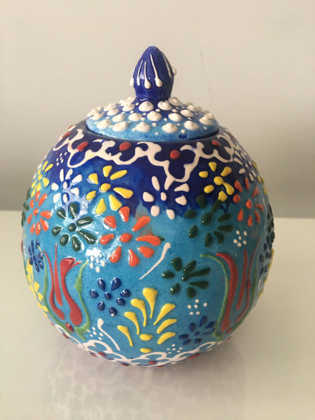 "SMALL ROUND TURKISH CERAMIC SHELF DECOR VASE, 16 cm (6.2""), BLUE 002"