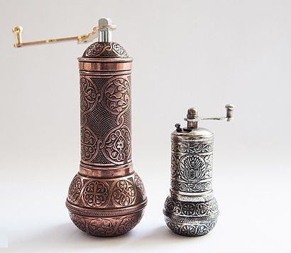 TURKISH GRINDER SET OF TWO, COFFEE / SPICE / SALT