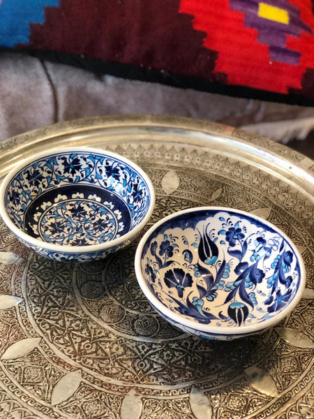 "TURKISH CERAMIC BOWL SET OF TWO , 15 cm (5.9""), FLORAL 00589"
