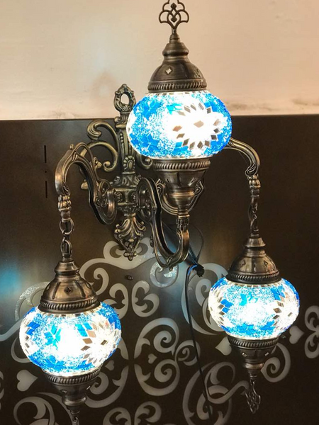 MOSAIC WALL LAMP, 3 GLOBES, BLUE