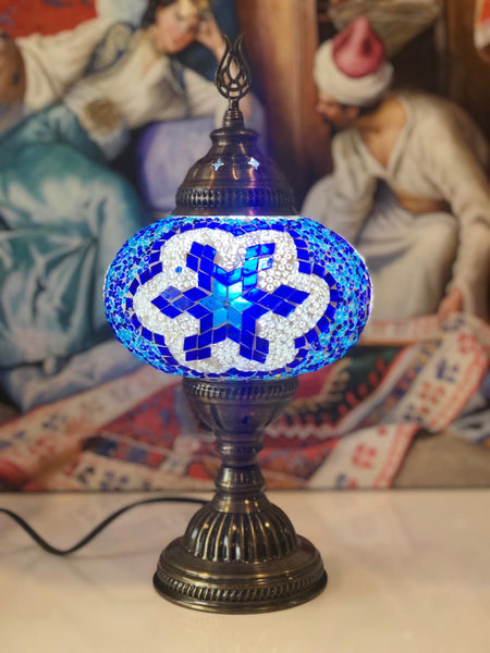 LARGE MOSAIC TABLE LAMP, BLUE, 0101