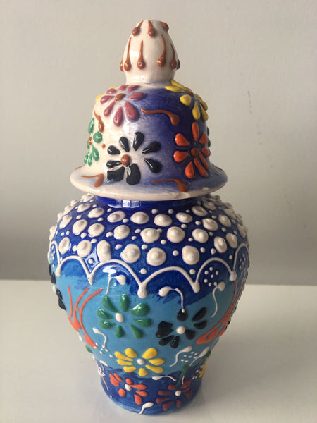 "HANDMADE TURKISH CERAMIC RELIEF VASE, 16 cm (6.2""), BLUE"