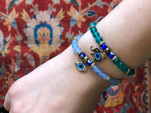 EVIL EYE HANDMADE BRACELET SET OF TWO, 002