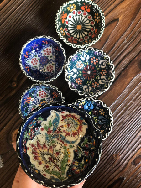 "TURKISH CERAMIC BOWL SET OF SIX, 5 cm (1.9""), 002"