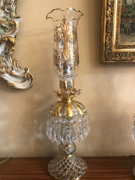 HANDMADE CRYSTAL TABLE LAMP, EXCLUSIVE PALACE STYLE, GOLD