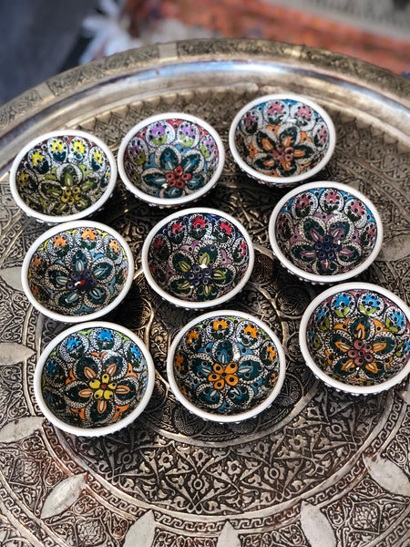 9x TURKISH CERAMIC BOWL SET OF NINE, 5 cm, FLORALS