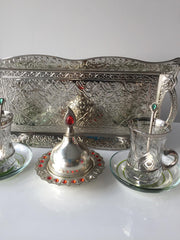 TURKISH TEA SET FOR TWO, SILVER
