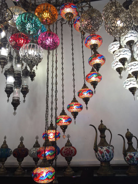 MAKE YOUR OWN SPIRAL MOSAIC CHANDELIER, 12 LAMPS