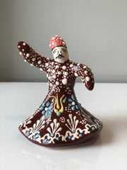 WHIRLING DERVISH CERAMIC FIGURE, BROWN