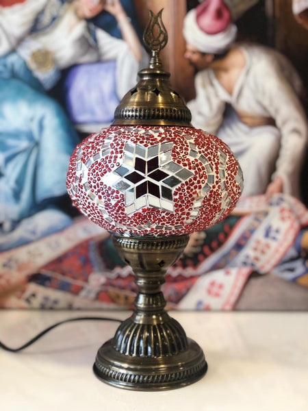 LARGE MOSAIC TABLE LAMP, BRIGHT, 095