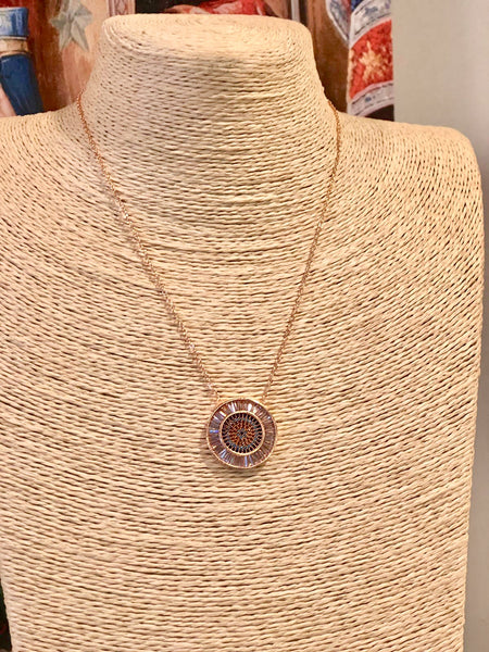 UNIQUE EVIL EYE NECKLACE, ROSE GOLD COLOR