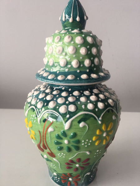 "HANDMADE TURKISH CERAMIC RELIEF VASE, 16 cm (6.2"")"