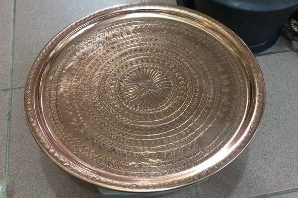 "HAND-HAMMERED TURKISH COPPER TRAY, 40 cm ( 15.7 "" )"
