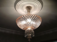 HANDMADE CRYSTAL PALACE CEILING LAMP, BLUSH PINK