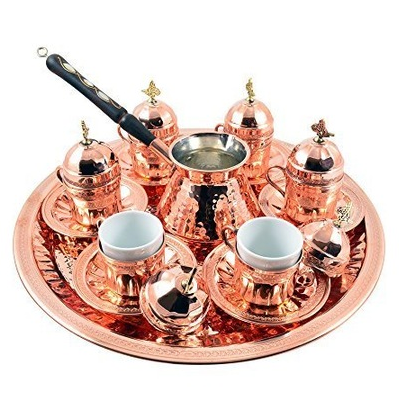 TURKISH COPPER COFFEE SET FOR SIX