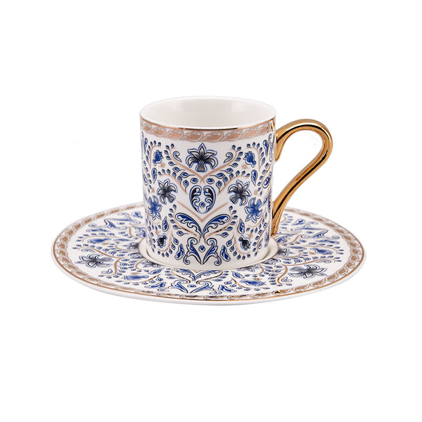 6x PORCELAIN TURKISH COFFEE SET OF SIX, 003