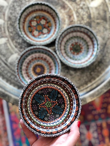 "4x TURKISH CERAMIC BOWL SET OF FOUR, 10 cm (3.9"")"